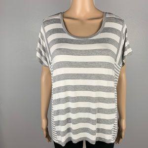 MICHAEL KORS MK Small Gray White Striped Loose Top